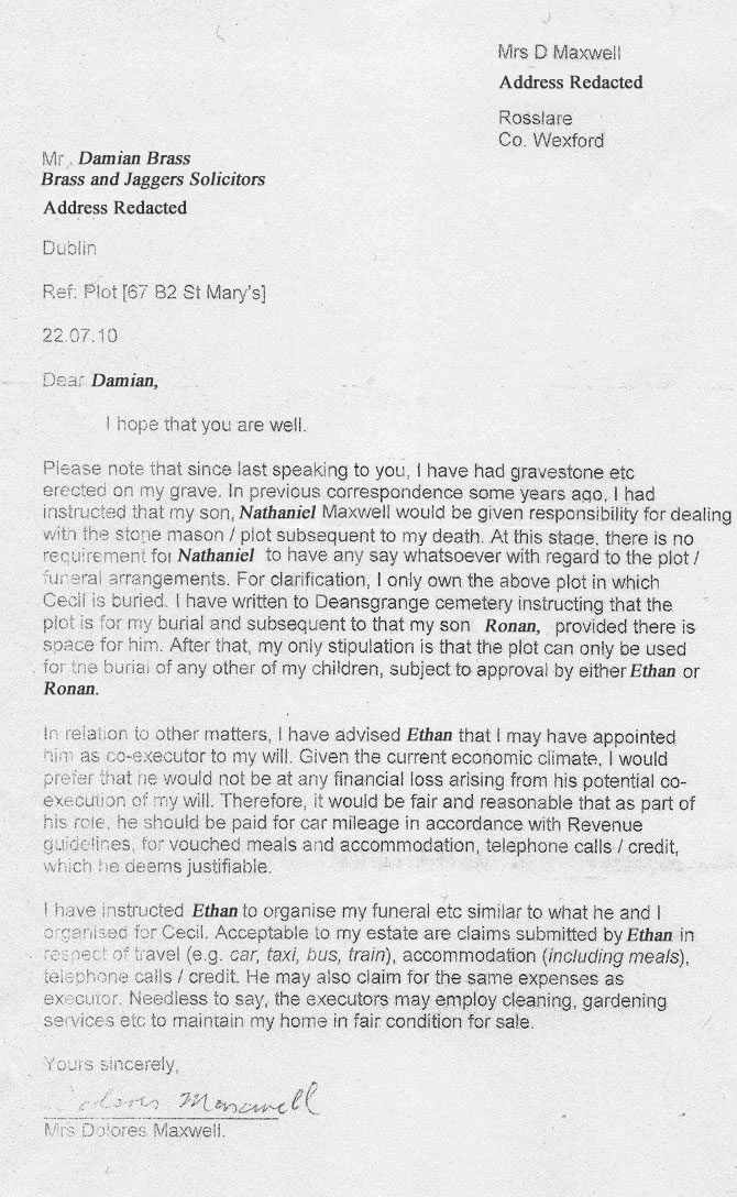Letter sent to Damian Brass about the Maxwell Family Gravesite